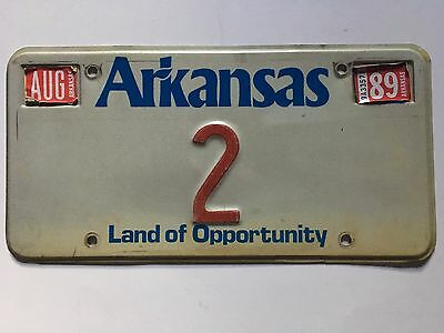 1989 Arkansas License Plate Bill Clinton's Lt Governor Low Number 2 Single Digit