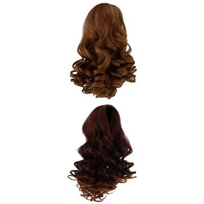 2pc Wavy Curly Hair Wig Heat Safe for 18 inch American Girl Dolls DIY Making