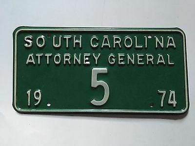 1974 South Carolina Attorney General License Plate Low Number 5 Single Digit