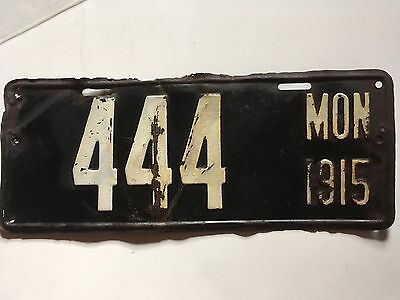 1915 Montana License Plate First Issue Low Number 3-Digit Repeating #444 Rare!!