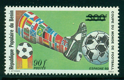 Benin Scott #594 MNH 90fr on 300fr #320 World Cup Soccer CV$13+