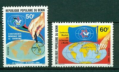 Benin Scott #488-489 MNH World Tourism Maps Flags $$