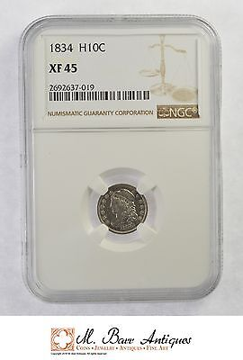 XF45 1834 Capped Bust Half Dime - Graded NGC *XC73