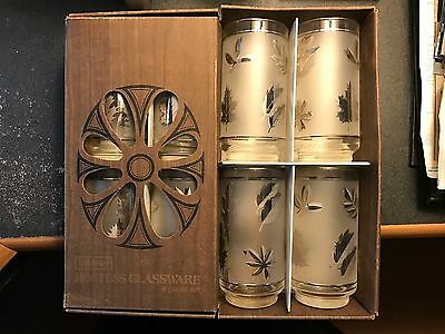 "Hostess glassware by LIBBEY, ""Silver Foliage"" Complete 8pc Set w/Box 15 1/2oz"