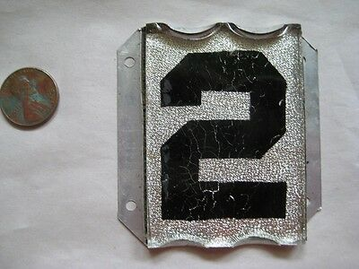 Vintage Beveled Aluminum and Glass Reflective House Number 2