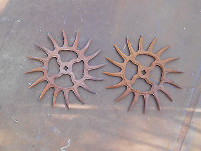 2 Vintage Industrial Iron Rotary Hoe Cultivator Wheel Garden Farm Yard Art