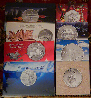Lot of 8 - Canada $20 for $20 Dollars Silver Coin Set