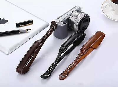 Dark Brown PU Leather Camera Hand Wrist Strap For Canon Nikon Olympus Panasonic