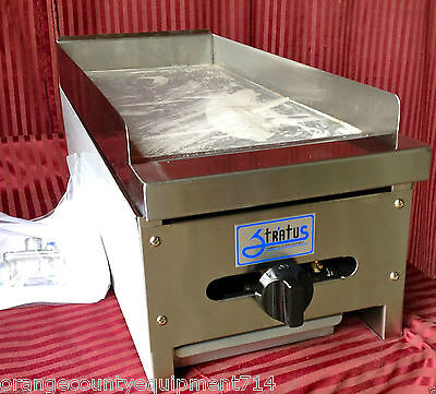 """NEW 12"""" Flat Top Griddle Stratus SMG-12 #1049 Commercial Gas Grill NSF Plancha"""