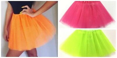 Tulle Tutu Skirt 80s Colour Women Costume Hot Pink Green Neon Fluro Orange