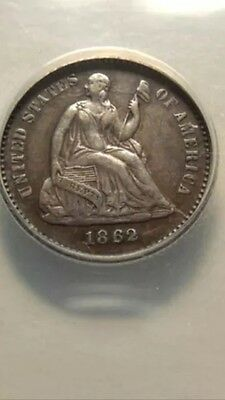 1862 Seated Liberty Half Dime ANACS EF45 -Clashed Dies