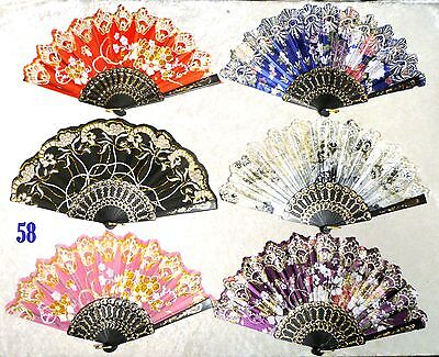 Lot of 6 Spanish Style Floral Sequined Gold Glitter Dancing Folding HandHeld Fan