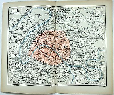 Original 1877 City Map / Plan of Paris, France by Meyers