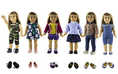 6 *New Style Doll Clothes+3 Pairs Random Shoes FOR 18'' American Girl Doll Dress