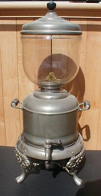 ANTIQUE VICTORIAN SAMOVAR NICKEL BRASS FINISH COFFEE URN w/ GLASS BOWL