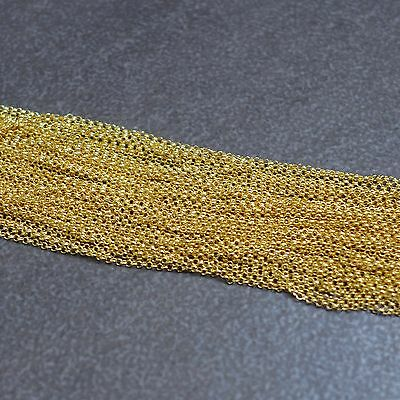 16K Gold Vermeil,3.3ft,925 Sterling Silver Unfinished Rolo Chain,1.3,1.6,2.0mm