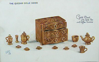 Postcard:tuck's.the Queens Dolls House.series Iv.gold Chest,tea & Coffee Service