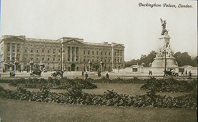 Topographical Postcard.buckingham Palace & Memorial.good Early Sepia Image