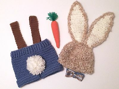 Crochet EASTER BUNNY Baby COSTUME & Carrot Photo Prop. 3-6 Months. USA