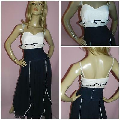 VINTAGE 70s NAVY/WHITE EVENING CHIFFON MAXI DRESS 10 S 1970s PARTY COCKTAIL
