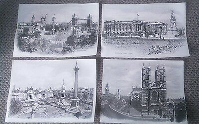 4 Ron Marsden pen and ink drawings, prints. sights of London.