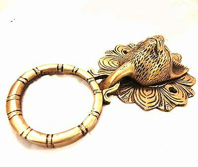 Antique Cat Unique Brass Door Knocker Vintage Home Decor Collection