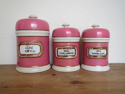 Victorian English antique pink apothecary pharmacy jars set of 3 marked MAW