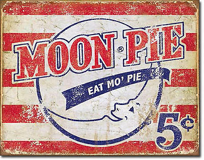 """Moon Pie"" Eat Mo' Pie, Tin Sign 12"" X 16""  for the Man Cave/Home Decor"