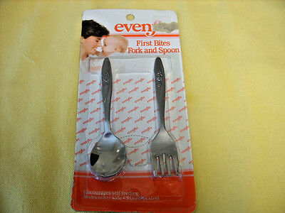 EVENFLO FIRST BITES FORK & SPOON NIP Stainless w/Floral Handle Baby Flatware