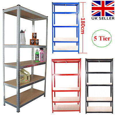 5 Tier Metal Shelving Unit Industrial Boltless Racking Garage Heavy Duty Shelf