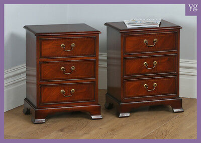 Pair of Georgian Style Mahogany Inlaid Bedside Chests of Drawers by Bradley