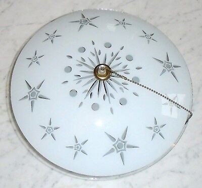 Vintage Mid Century 13in Atomic Star Saucer Light Fixture 2 Bulb Pull String Ele