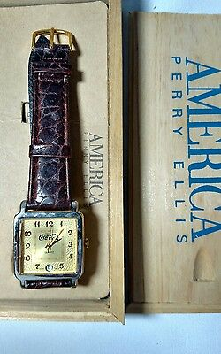 VINTAGE COCA-COLA WATCH by PERRY ELLIS - PARTS ONLY - Not Working w/box