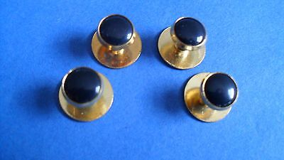 HIGH QUALITY DRESS SHIRT STUDS -  GOLD COLOUR PLATED BASE AND BLACK Pack of four