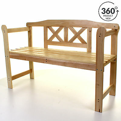 Outdoor Garden Wooden Bench Seat 3 Seater Patio Seating Large with Armrests NEW