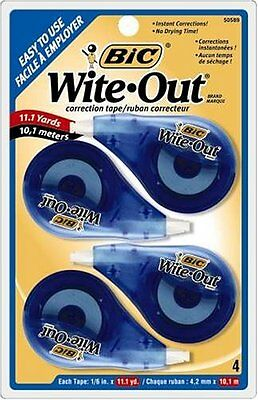 4/Pack BIC Wite-Out EZ Correct Correction Tape White Corrector Pen-Eraser Lot ##