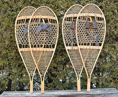 2-LOT 1960s Hand made SNOWSHOES 15 x 44 Indian Rawhide Beauce Cty Quebec CANADA