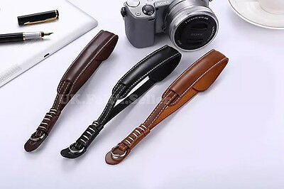 Brown PU Leather Camcorder Hand Wrist Strap For Canon Sony JVC Panasonic Samsung