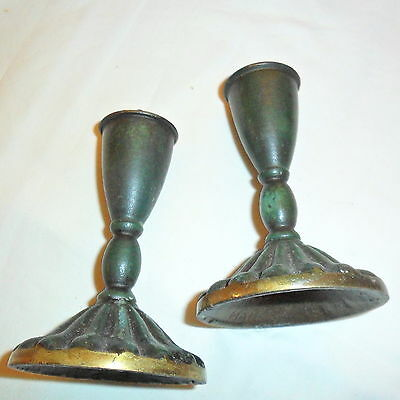 vintage Made in Israel Shabbat candle holders, green finish