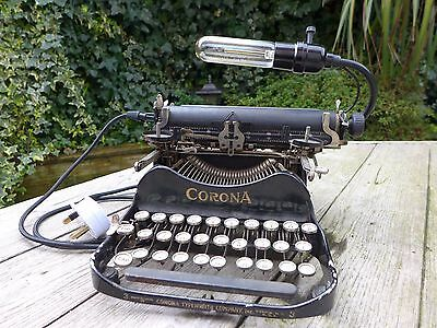 Corona Vintage Compact Portable Typewriter Desk Lamp Unique Design Handmade