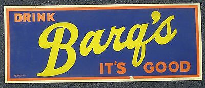 """BARQ'S ROOT BEER c1950's Soda Pop Gas Station Grocery Store 28"""" Sign Original"""