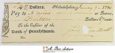 1794 $14.87 Philadelphia Bank Of Pennsylvania Check 1700's Vintage *534