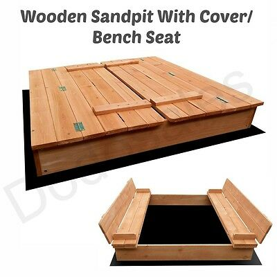 Kid Wooden Sandpit Cover Bench Seat Ball Pit Sandbox Play Child Fold Safe Outdoo