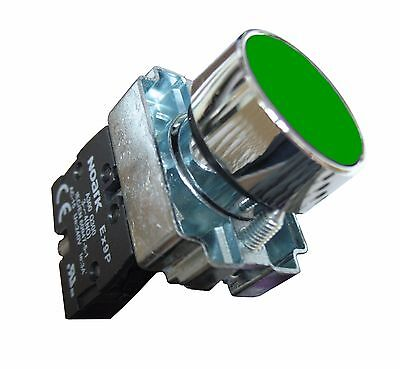 Push Button Momentary Pilot Duty Industrial Switch Green Normally Open 22mm New