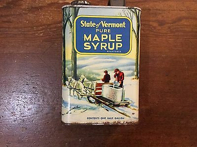 Vintage State Of Vermont Pure Maple Syrup One Gallon Can Tin