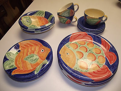 16pc 3ppl Dinner & Salad Plates & BOWL & Cups Bella Ceramica GONE FISHING Fish