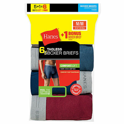 7349Z6 Hanes Mens TAGLESS Boxer Brief with Comfort Flex Waistband 6-Pack (Includ