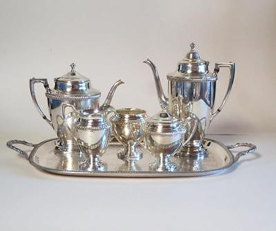 Vintage Crescent Silver Mfg Co Coffee Tea Set w/ Serving Tray Silverplated