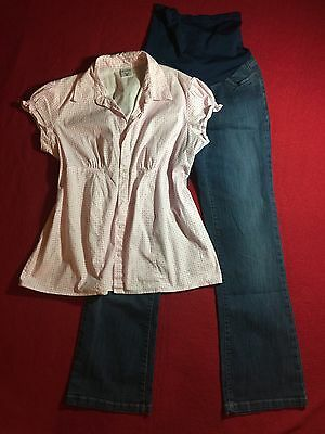 2piece MATERNITY Panel L Blue Jean Denim Pants Pink MOTHERHOOD Summer Top Outfit