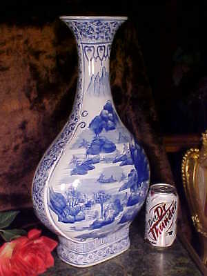 """HUGE & IMPRESSIVE Tall 18"""" Delft Style COBALT BLUE White Footed Vase GORGEOUS!"""